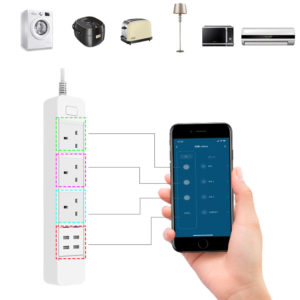 DHEKINGD D666 Smart WIFI APP Control Power Strip with 3 UK Outlets Plug 4 USB Fast Charging Socket App Control Work Power Outlet