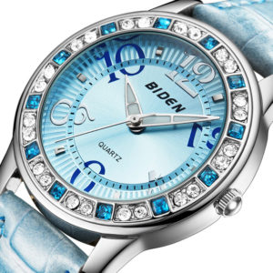 BIDEN BD1110 Classic Crystal Leather Strap Women Watch