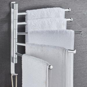 Bathroom Swivel Towel Rack Wall Mounted Heavy Duty Towel Shelf Towel Holder