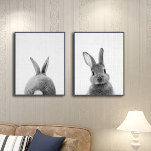Miico Hand Painted Combination Decorative Paintings Animal Rabbit Paintings Wall Art For Home Decoration