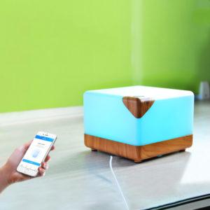 Smart WIFI 110-220V 12W Wood Grain Intelligent Aromatherapy Humidifier 6 Color LED Light Amazon Alexa Google Control