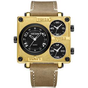 MEGIR 2069 Square Dial Multi Time Zone Men Quartz Watch