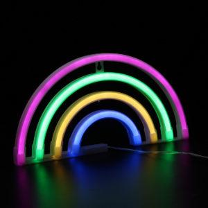 LED Rainbow Shaped Neon Light Childrens Room Night Light Wall Home Decor Gift