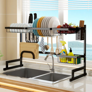 2 Layers Stainless Steel Over Sink Dish Drying Rack Storage Multifunctional Arrangement for Kitchen Counter