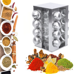 360° Stainless Steel Rotating Spice Rack Container with 16 Glass Jar Counter Kitchen Organizer Kitchen Storage