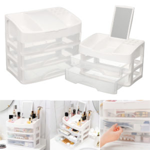 2/3 Layers Clear Drawers Makeup Case Cosmetic Organizer Storage Jewelry Box Holder