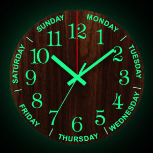 12 tums lysande väggklocka Trä tyst icke-tickande klocka med nattlampa
