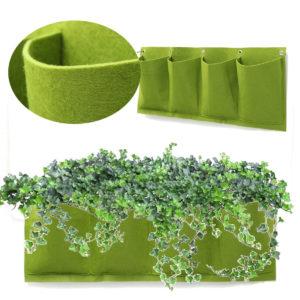 4 Pockets Outdoor Indoor Wall Mount Window Garden Vertical Green Hanging Aeration Planter Grow Bag