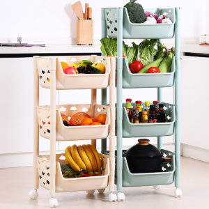 3/4 Tier Kitchen Vegetables Storage Trolley Cart Shelf Wheels Room Rack Stand