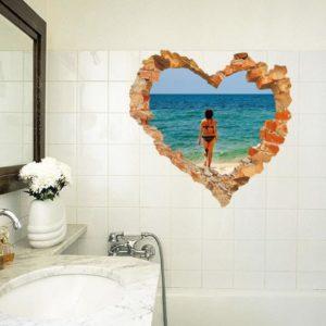3D Heart Beach Walking Living Room Bedroom Animals Floor Background Wall Decor Creative Stickers