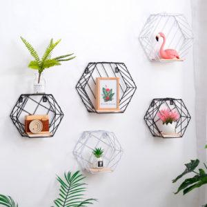 20cm Hexagon Wall Shelf Rack Twill Trellis Storage Holders Wooden Rack Holder Home Decor Kitchen