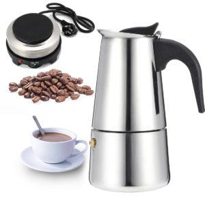 Espresso Moka Kaffebryggare Pot Percolator Rostfritt stål Elektrisk spis Elektrisk vattenkokare