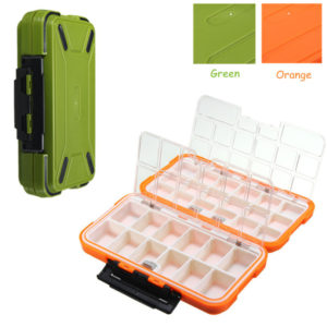 19x10x4.5cm Waterproof Fishing Tackle Storage Boxes Green Orange