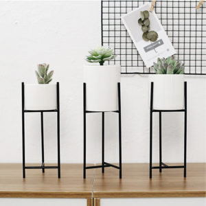 Black Metal Rack Ceramic Succulent Plant Pot Flower Planter Garden Home Decor Decorative Hardware