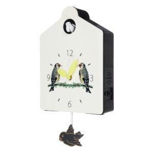 Antik trägökur Bird Time Bell Swing Alarm Watch Wall Home Decorations