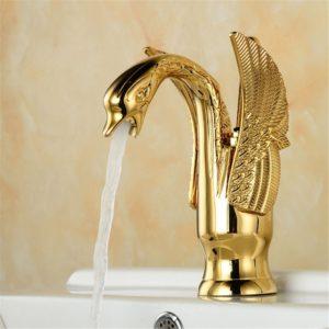 European Swan Antique Bathroom Basin Faucet Hot & Cold Water Mixer Tap Single Handle Copper Deck Mount