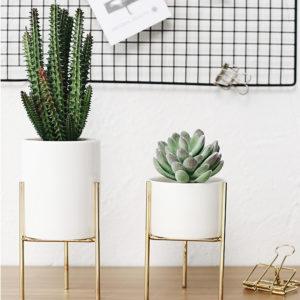 Ceramic Flower Plant Succulent Pot Indoor Rack Garden Display Stand Planter Holder Decor