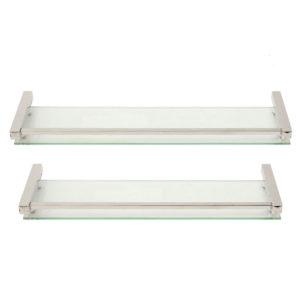 40/50/60CM Modern Bathroom Glass Shower Caddy Storage Shelf Wall Mounted Brass Base & Glass Tier