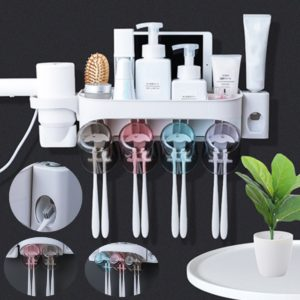 2/3/4 Cups Automatic Toothpaste Toothbrush Holder Wall Hanging Hair Dryer Rack