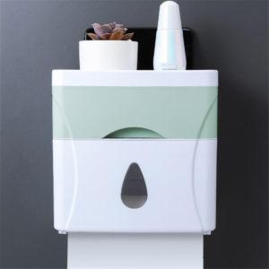 21.5*11.9*13.3cm Creative Plastic Bath Wall Mounted Paper Shelf Holder Storage Box Toilet Tissue Dispenser