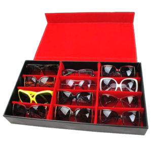 12 Slot Grid Glasögon Display Förvaringsfodral Låda Hållare Solglasögon Glasögon