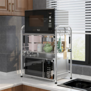 50/55/60m 3 Layers Stainless Steel Rack Shelf Double Layers Storage for Kitchen Dishes Arrangement