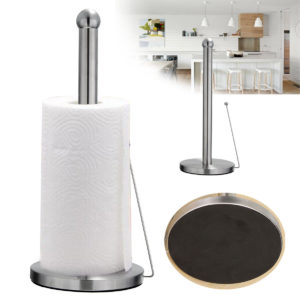 Free Standing Paper Towel Holder Hook Stainless Steel Kitchen Roll Suction Base