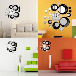 Creative DIY 3D Mirror Wall Acrylic Clock Sticker Unique Big Number Modern Decorations