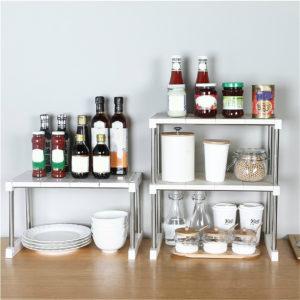 1/2 Layer Multi-function Storage Rack Kitchen Shelf Household Bathroom Bedroom Organizer Stand