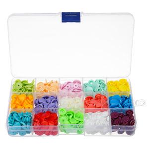 15 färger 150 st plast harts fästelement snap hjärta knappar DIY tyg hantverk kit med förvaringsväska