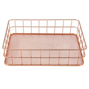 24X16X6cm Elegant Rose Gold Square Iron Desktop Storage Case Organizer for Office Home
