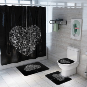 Honana 4PCS Bathroom Waterproof Shower Curtain Lid Toilet Cover Pedestal Rug Bath Mat Bathroom Decor