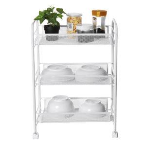 3 Layer Iron Rack Wheel Cart Storage Portable Shelf for Kitchen Bathroom Arrangement