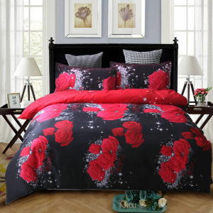 3 PCS Bedding Sets 3D Floral Rose Printing Quilt Cover Pillowcase For Full Size