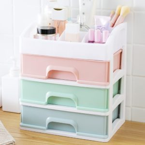 3 Layers Storage Box PP Table Tidy Organizer Drawers Case Makeup Display Holder