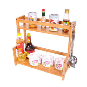 2/3 Tier Spice Herbs Jars Rack Holders Stand Natural Bamboo Wood Wall Mounted Storage for Kitchen Counter