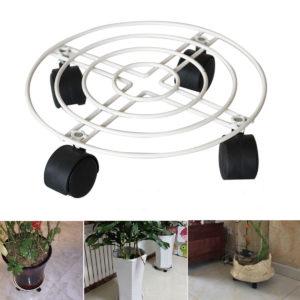 25-40cm Plant Pot Round Wheels Mover Trolley Caddy Garden Plate Metal Stand Rolling Plant