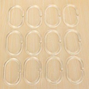 12Pcs Shower Curtain Hooks Plastic Bathroom Shower Curtain Rings Deformable Hanging Hook