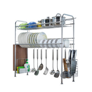 64/74/84/94cm Stainless Steel Rack Shelf Double Layers Storage for Kitchen Dishes Arrangement