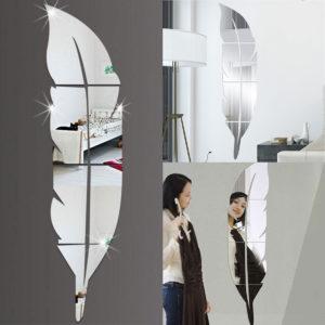 3D spegel vinyl fjäder vägg klistermärke dekal DIY rum konst väggmålning avtagbar tapet heminredning