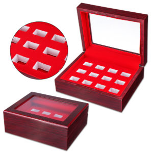 12 Holes Wooden Box For Championship Ring Collection Display Red Black
