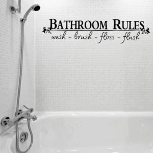 Vinyl Bathroom Rules Letter Sticker Bathroom Toilet Art Wall Decals