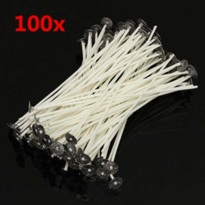 100pcs 20cm Wax Candle Cotton Wicks with Metal Sustainers