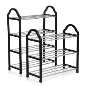 3/4 Tier Space Saving Shoe Storage Organizer Free Standing Shoe Tower Racks Shelves Shelf