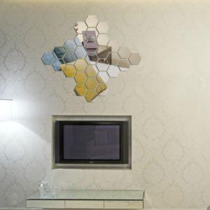 12PCS 3D Mirror Hexagon Vinyl DIY Removable Wall Sticker Art Decal Home Decor