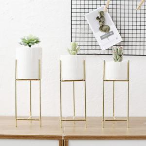 Ceramic Flowerpot Metal Rack Garden Plant Succulent Planter Stand Holder Decor Decorative Hardware