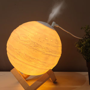 Moon Lamp Humidifier Aromatherapy Diffuser LED Desk Moon Lamp with Cool Mist Humidifier Function Adjustable Brightness and Mist Mode