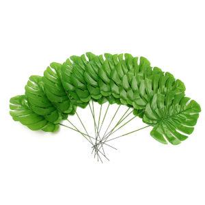 12Pcs Artificial Branch Palm Fern Turtle Leaf Plant Tree Foliage Green Plant Decor