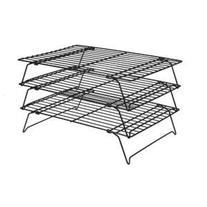 3 Tier Cooling Rack Nonstick Coating Bakeware Bake Cookie Stackable Collapsible Bread Rack