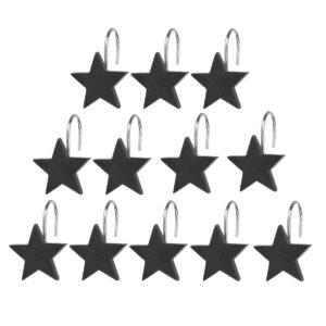 12st Black Star duschdraperi krokar hängande krok badrum dekoration